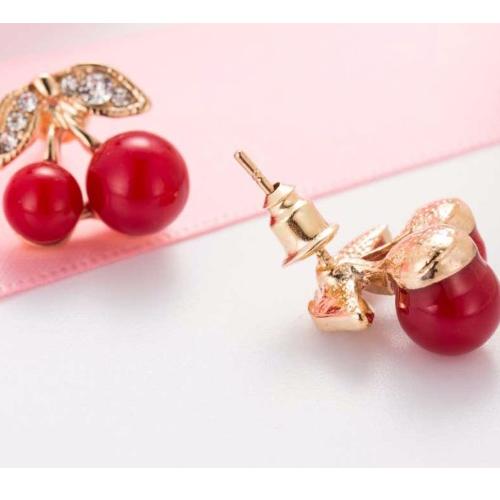 Ohrstecker Kirsche Ohrringe Strass Ohrhänger gold rot Rockabilly Cherry Lolita